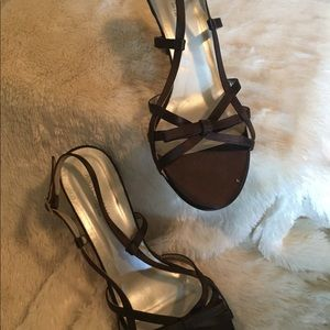 Brown Satin Strappy Heeled Sandal